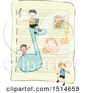 Clipart Of A Sketched Group Of Children With Music Notes On A Ruled Sheet Of Paper Royalty Free Vector Illustration by BNP Design Studio