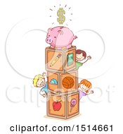 Clipart Of A  Sketched Group Of Children With Toy Blocks And A Piggy Bank Royalty Free Vector Illustration