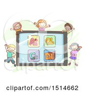 Sketched Group Of Children Around A Tablet With Alphabet Letters