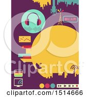 Clipart Of A Broadcast Design With Radio Towers And Media Controls Royalty Free Vector Illustration
