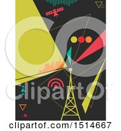 Clipart Of A Geometric Tower And Broadcast Design Royalty Free Vector Illustration