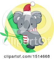 Christmas Koala Wearing A Scarf And Santa Hat
