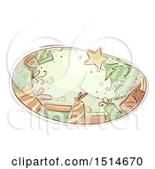 Clipart Of A Sketched Oval With A Christmas Tree And Presents Royalty Free Vector Illustration