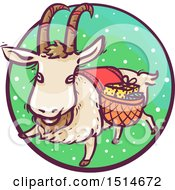 Clipart Of A Christmas Yule Goat With Gifts Royalty Free Vector Illustration