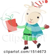 Clipart Of A Christmas Yule Goat Holding A Present Royalty Free Vector Illustration by BNP Design Studio