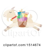 Clipart Of A Leaping Christmas Yule Goat With A Basket Of Presents Royalty Free Vector Illustration by BNP Design Studio