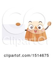 Pandoro Bread Character Holding A Blank Sign