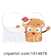 Panettone Bread Character Wearing A Santa Hat And Holding A Blank Sign