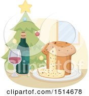 Clipart Of A Christmas Panettone Bread With Wine And A Tree Royalty Free Vector Illustration by BNP Design Studio