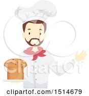 Clipart Of A Male Baker Holding Fresh Panettone Bread Royalty Free Vector Illustration by BNP Design Studio