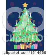 Clipart Of A Christmas Tree Adorned With Candles And Candy Canes Over A Yule Goat And Gifts Royalty Free Vector Illustration