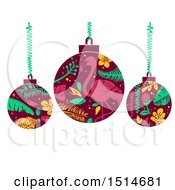 Clipart Of Tropical Christmas Bauble Ornaments Royalty Free Vector Illustration