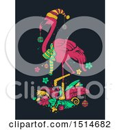 Clipart Of A Tropical Christmas Flamingo Royalty Free Vector Illustration