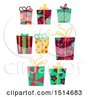 Clipart Of Christmas Gifts Wrapped In Tropical Paper Royalty Free Vector Illustration