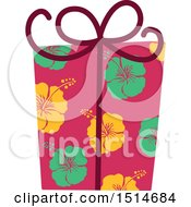 Clipart Of A Christmas Gift Wrapped In Tropical Hawaiian Hibiscus Flower Paper Royalty Free Vector Illustration