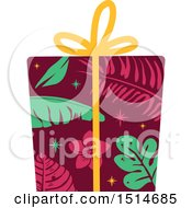 Clipart Of A Christmas Gift Wrapped In Tropical Paper Royalty Free Vector Illustration