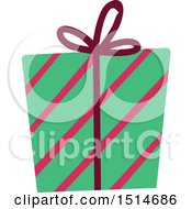 Clipart Of A Christmas Gift Wrapped In Stripes Paper Royalty Free Vector Illustration