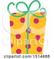 Clipart Of A Christmas Gift Wrapped In Polka Dot Paper Royalty Free Vector Illustration