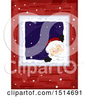 Clipart Of A Christmas Santa Peeking Down A Chimney Royalty Free Vector Illustration by BNP Design Studio