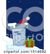 Clipart Of A Roof Top With Santas Hat A Gift And Snow Royalty Free Vector Illustration