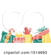 Clipart Of A Border Of Christmas Presents Under Text Space Royalty Free Vector Illustration