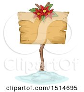 Clipart Of A Christmas Sign With A Poinsettia Royalty Free Vector Illustration