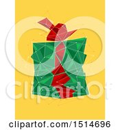 Clipart Of A Geometric Christmas Present On Yellow Royalty Free Vector Illustration