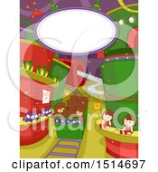 Clipart Of A Christmas Factory With Toys On Conveyor Belts Royalty Free Vector Illustration