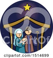 Clipart Of A Star Over A Manger With Baby Jesus Mary And Joseph Royalty Free Vector Illustration