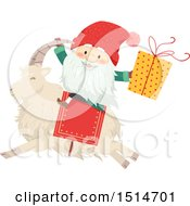 Clipart Of A Swedish Christmas Tomte Riding A Yule Goat Royalty Free Vector Illustration