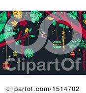 Clipart Of A Tropical Christmas Background With Trees And Ornaments Royalty Free Vector Illustration