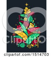 Clipart Of A Stencil Styled Tropical Christmas Tree Royalty Free Vector Illustration