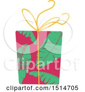 Christmas Gift Wrapped In Tropical Palm Flower Paper