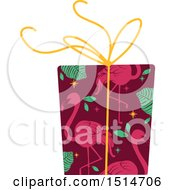 Clipart Of A Christmas Gift Wrapped In Tropical Flamingo Paper Royalty Free Vector Illustration