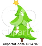 Clipart Of A Christmas Tree Decorated With Kangaroos Royalty Free Vector Illustration