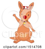 Christmas Kangaroo Disguised As A Reindeer