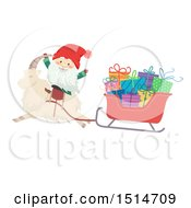 Clipart Of A Swedish Christmas Tomte And Yule Goat With A Sleigh Royalty Free Vector Illustration