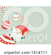 Clipart Of A Swedish Christmas Tomte Swinging On A Bauble Royalty Free Vector Illustration