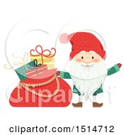Clipart Of A Swedish Christmas Tomte With A Sack Of Gifts Royalty Free Vector Illustration