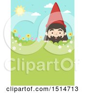 Clipart Of A Garden Gnome Peeking Over A Shrub With Text Space Royalty Free Vector Illustration