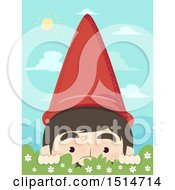 Clipart Of A Garden Gnome Peeking Over A Shrub Royalty Free Vector Illustration