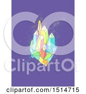 Clipart Of A Colorful Quartz Crystal Cluster On Purple Royalty Free Vector Illustration