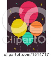 Clipart Of Colorful Party Balloons With Lines For Text Royalty Free Vector Illustration