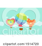 Clipart Of Hot Air Balloons In The Sky Royalty Free Vector Illustration by BNP Design Studio