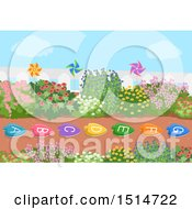 Clipart Of A Garden With Alphabet Stepping Stones Royalty Free Vector Illustration by BNP Design Studio