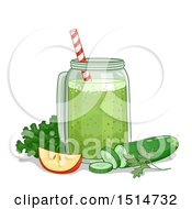 Clipart Of A Green Smoothie With An Apple Greens And Cucumber Royalty Free Vector Illustration by BNP Design Studio