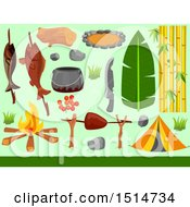 Clipart Of A Tent And Camping Elements On Green Royalty Free Vector Illustration