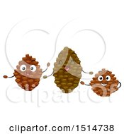 Clipart Of A Group Of Happy Pine Cone Characters Royalty Free Vector Illustration