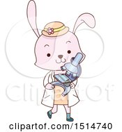 Cute Student Rabbit Carrying A Microscope