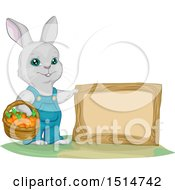 Clipart Of A Bunny Rabbit Gardener With A Basket Of Carrots By A Blank Sign Royalty Free Vector Illustration